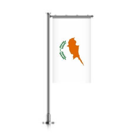 Cyprus vector banner flag hanging on a silver metallic pole.