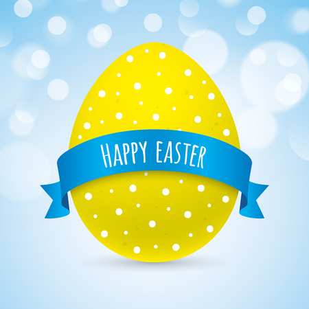 flayer: Easter greeting card vector design, with yellow egg and ribbon on a blue bokeh background. Colorful easter greeting card. Stock Photo
