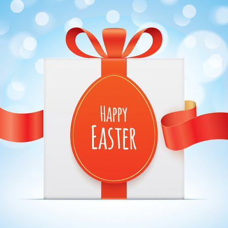 White gift box with egg shaped tag, tied with a red ribbon on a blue bokeh background. Easter greeting card vector design. Illustration