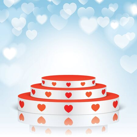celebrities: White vector stage with stairs and red hearts, isolated on a blue bokeh romantic background.