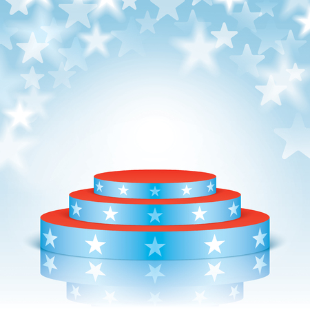 Blue vector stage with red stairs and white stars, isolated on a blue stars bokeh background.