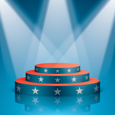 Blue vector stage with red stairs and white stars, isolated on a background. Show scene with lighting and reflection in a USA flag colors. Illustration