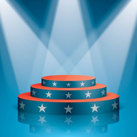 Blue vector stage with red stairs and white stars, isolated on a background. Show scene with lighting and reflection in a USA flag colors. Stock Photo