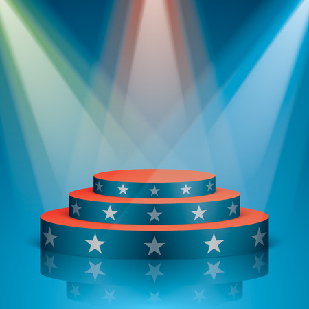 Blue vector stage with red stairs and white stars, isolated on background. Show scene with colorful lighting and reflection in a USA flag colors.