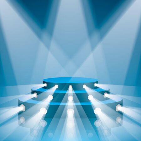 Blue vector stage with stairs and projector lighting. Show scene with lighting and reflections.