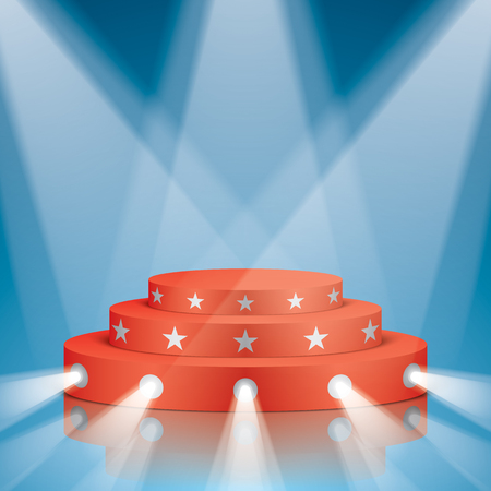 Red vector stage with stairs, stars and projector lighting. Show scene with lighting and reflections.
