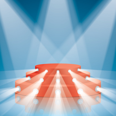 Red vector stage with stairs and projector lighting. Show scene with lighting and reflections.