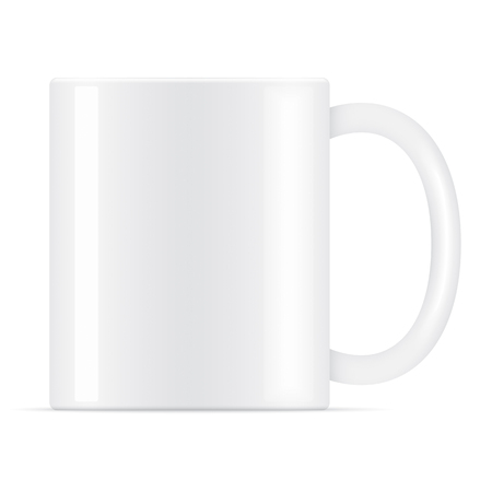 White Vector Coffee Mug Template Isolated On A Background. Mug ...