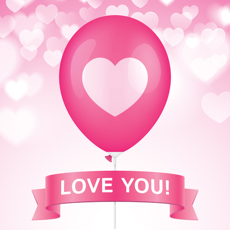 i beam: Heart printed pink ballon with ribbon on a pink bokeh background. Romantic greeting card vector design.