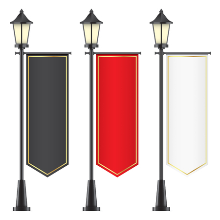 Set of vintage lampposts with advertising flags