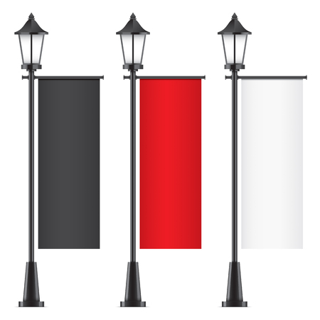 Set of vector lamposts, with black, red and white advertising flags, isolated on a white backgorund. Vertical promotional flag realistic mockups. Illustration
