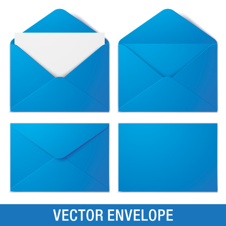 Set of blue vector envelopes in different views, isolated on a white background. Realistic blue vector envelope mock ups.
