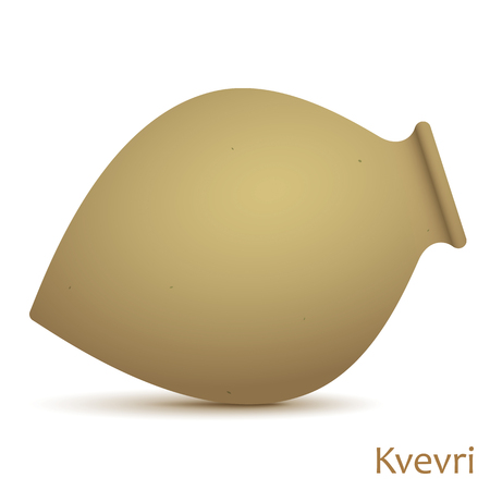 Kvevri vector illustration. Traditional Georgian clay vessel Qvevri, isolated on a white background. Stock Photo