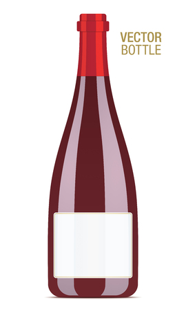 Red wine vector bottle isolated on a white background.