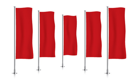 Five red vertical banner flags, standing in a perspective row. Banner flag templates isolated on background. Vertical flags realistic mockup.