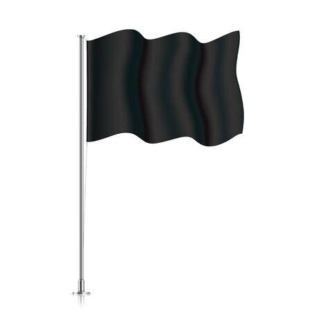 Black flag on a metallic pole. Vector flag mockup. Blank horizontal waving flag, isolated on a white background. Realistic flag template.