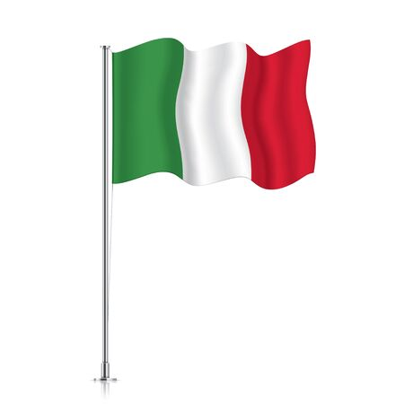 Italy flag on a metallic pole. Official flag of Italy, isolated on a white background. Waving national flag hanging on a pillar. Vector illustration.