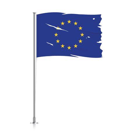 Torn EU flag on a metallic pole. Damaged flag of European Union hanging on a metallic flagpole. Vector illustration. 向量圖像