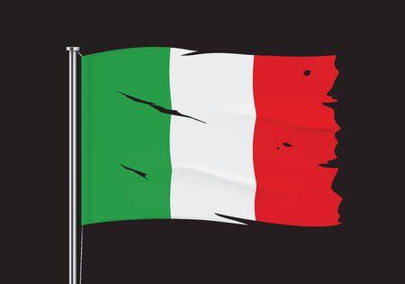 Torn Italy flag on a metallic pole. Damaged waving flag of Italy hanging on a metallic flagpole. Vector illustration.