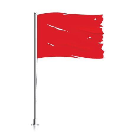 Torn red flag on a metallic pole. Waving damaged flag, isolated on a white background. Tattered vector flag illustration.