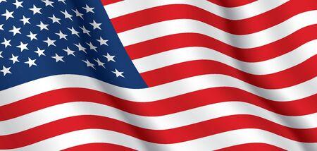 Vector flag of USA. United States of America waving flag background. Vektorové ilustrace