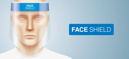 White man with a plastic face shield, standing on a gray gradient background. Closeup shot of a person, with a virus protection mask on his face. Healthcare banner vector design.