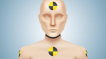 Crash test dummy vector illustration. Car safety testing manikin, looking at camera, standing on a gray background.