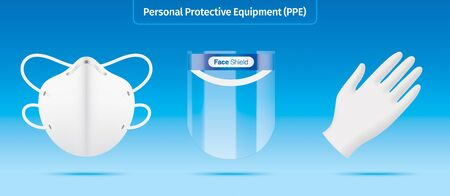 Personal protection equipment kit. Plastic face shield, face mask and latex gloves vector illustration. Medical workers garments isolated on blue background. Novel corona virus protective accessories.