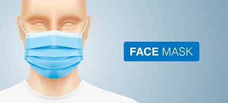 Asian man wearing a blue surgical face mask. Close up shot of a Chinese or Japanese person with corona virus protective medical mask. Disease protection equipment vector background with copy space. Ilustración de vector