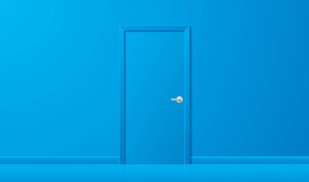 Blue door in a blue interior. Simple shape closed door with chrome handle standing in the center of the blue wall background, in a front view. Business concept vector illustration.