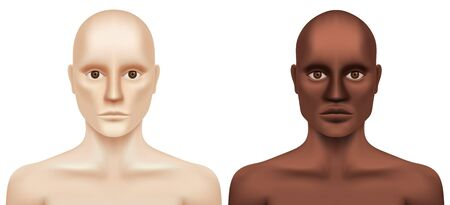 White and black naked hairless men looking at the camera. Caucasian and African-American man without hair and eye brows, isolated on white background. Leukemia or cancer patient vector illustration.