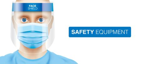 A white man wearing a plastic face shield and a blue surgical mask. Doctor, nurse, or medical worker with virus protection equipment on his face. Corona virus protective measures, vector illustration.