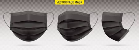 3 ply surgical face masks isolated on a transparent background. Vector set of disposable black medical masks. Corona virus protection mask with ear loop, in a front, three-quarters, and side views. 向量圖像