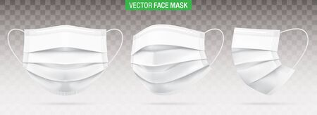 3 ply surgical face masks isolated on a transparent background. Vector set of disposable white medical masks. Corona virus protection mask with ear loop, in a front, three-quarters, and side views. 向量圖像