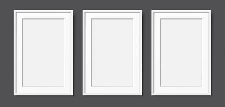 3 white wooden frames with passepartout, hanging on the dark wall background. Realistic blank frames mockup, for text or image placement. Empty elegant frames vector template with copy space.