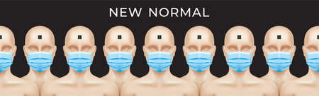 NEW NORMAL concept banner design. Naked people with RFID microchips and medical face masks, standing in a row on a black background. Conspiracy theory, or Sci-fi creative vector illustration.