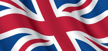 UK national flag. Horizontal background of United Kingdom waving flag. Great Britain official flag, vector illustration. Vecteurs