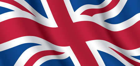UK national flag. Horizontal background of United Kingdom waving flag. Great Britain official flag, vector illustration. 写真素材 - 150621543