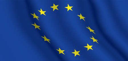 EU official flag. Horizontal background of the European Union waving flag. Vector illustration. 写真素材 - 150621657