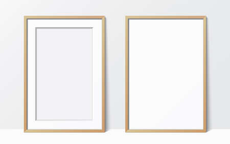 Set of 2 simple wooden frames leaning against the white wall. Blank elegant frame template. Picture frame vector mockup. Illustration