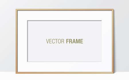 Wide wooden frame with passe-partout leaning against the white wall. Horizontal blank elegant frame template. Picture frame vector mockup.