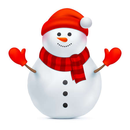 Smiling snowman vector illustration. Santa Claus with red hat and gloves isolated on a white background. Christmas, Happy New Year, or winter holiday design decoration. Funny Xmas character.