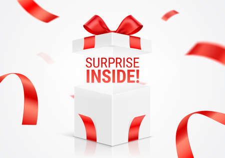 Opened white gift box, with Surprise Inside message. Exploded realistic gift box with red ribbons. Vector card design, for prize offer promotion.