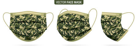 Camo face mask, vector set. Army camouflage protective masks, from different angles isolated on white. Virus, and flu protection military pattern mask, in a front, three-quarters, and side views.