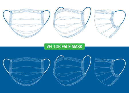 Outline drawing of medical face masks in different viewing angles. Vector blueprint of virus protection masks, in front, three-quarters, and side views, isolated on white.