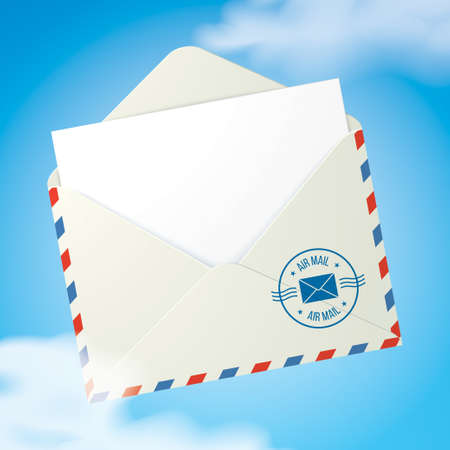 Opened envelope with Air Mail postal service stamp and a blank letter inside, flying in the sky with clouds. Flying message concept vector illustration, with copy space. Vector Illustration
