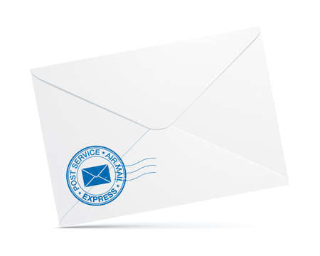 White mail envelope with a blue postal service stamp standing isolated on the background. Folded post envelope vector mockup. Vector Illustratie