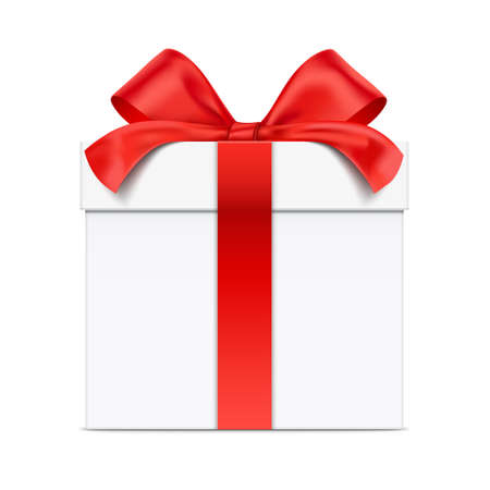White vector gift box in a front view, isolated on background. Ilustración de vector