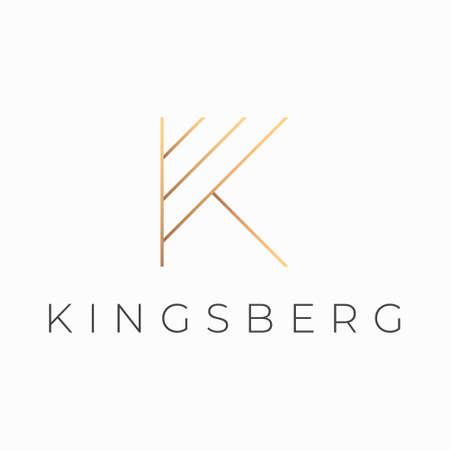 K letter elegant golden logo design. Abstract luxury K initial logo vector template.