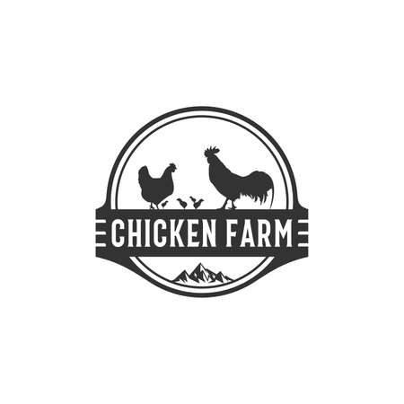 the chicken farm logo and the healthy looking chicken vector Vettoriali